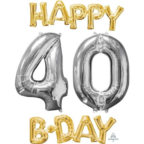 """Happy 40 B-Day"" Phrase & Number Bunch"